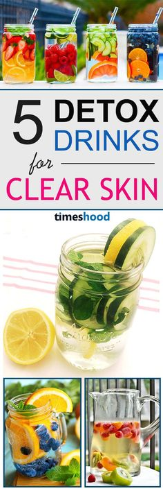 Want clear and glowing skin naturally? Then try these DIY detox drink recipes that are excellent for your skin health and weight loss. Detoxify your body daily with these detox water recipes. Detox water for clear skin and weight loss.