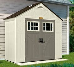 Storage shed behind garage Suncast Tremont 4 ft. in. x 8 ft. in. Resin Storage - The Home Depot Plastic Storage Sheds, Wooden Storage Sheds, Outdoor Storage Sheds, Shed Storage, Suncast Sheds, Garbage Shed, Outdoor Supplies, Shed Kits, Bike Shed