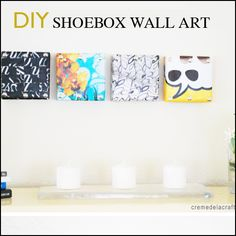 Would you guess this wall art is made from shoeboxes? DIY: Mini Wall Art From Shoebox Lids Diy Wand, Shoe Box Art, Diy Craft Projects, Diy Crafts, Shoebox Crafts, Recycled Crafts, Project Ideas, Wal Art, Modern Home Interior Design