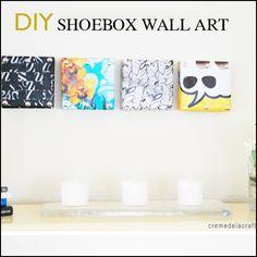 Shoebox Lid Wall Art DIY from Creme de la Craft