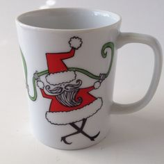 Vtg Fitz Floyd Santa Claus Holiday Christmas Coffee Mug Ceramic Red Green | eBay