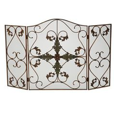 3 Panel Arched Antique Copper and Patina Fireplace Screen - This decorative copper fireplace screen features elegant leaf pattern and scrollwork. Fireplace Grate, Fireplace Doors, Fireplace Screens, Fireplace Mantels, Decorative Fireplace, Fireplace Ideas, Fireplaces, Fireplace Bellows, Log Carrier