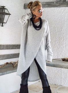 Wolle & Wollmischung Als Bild Lang Lange Ärmel Rundhals Jacken & Mäntel (1036063) @ floryday.com