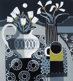 Jane Walker ~ Moon and Striped Vase ~ Linocut, 255 x 285 mm