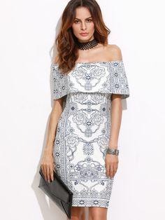 White Vintage Print Foldover Off The Shoulder Bodycon Dress