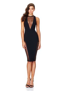 443c01fcbff NOOKIE GIVE ME FEVER BODYCON DRESS Comes in BLACK Hot high neck shift dress  with plunging