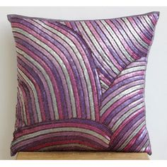 Embroidered Bedding Plum Cheer - 20x20 Purple Silk Pillow Case Accent Pillow Cover