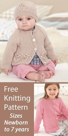 Free Knitting Pattern Baby and Child Cardigan and Hat Sirdar 4785 Baby and child sized hat and matching cardigan with bobble and lace flowers. Sizes Age 0-6 Months, 6-12 Months, 1-2 Years, 2-3 Years, 4-5 Years, 6-7 Years. Designed by Sirdar. DK weight yarn. Yarn also available on pattern page. This may be free only a limited time. Baby Knitting Patterns, Baby Patterns, Free Knitting, Aran Weight Yarn, Sport Weight Yarn, Knitted Flowers, Lace Flowers, Crochet Baby, Knit Crochet