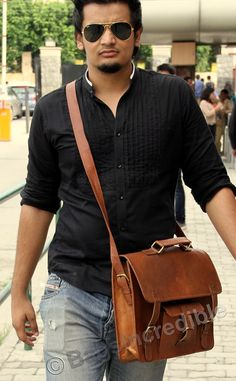 Leather Briefcase Leather Messenger Bag / Padded by bagsincredible, $44.95