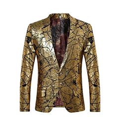 4048f0698f9 Men s Blazer Two Buttons Slim Fit Casual Premium Jacket Fashion Outwear Coat  golden Large  guarantee the style is the same as shown in the be aware that  ...