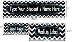 "This download includes editable name plates and labels with a black and white chevron design.  Ideal for cubbies, binders, notebooks, bookshelves, book bins...the possibilities are endless.  Each download includes 3 different size labels (name plate: 3""X10.75"", medium label: 5""X2.25"", small label: 1.5""X3.5"")."