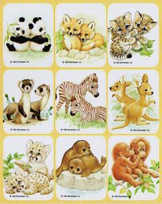 Vintage Gibson baby animal pairs stickers