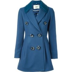 Fendi double breasted coat (€2.510) ❤ liked on Polyvore featuring outerwear, coats, blue, blue coat, double breasted coat, long sleeve shawl, blue double breasted coat and wool cashmere coat