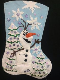Frozen Olaf Handmade Felt Christmas Stocking in Crafts, Handcrafted & Finished Pieces, Holiday Disney Christmas Stockings, Xmas Stockings, Disney Stockings, Xmas Crafts, Felt Crafts, Christmas Projects, Felt Ornaments, Christmas Ornaments, Frozen Christmas