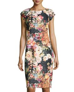 Floral/Lace+Printed+Scuba+Jersey+Dress,+Black/Multi+by+5twelve+at+Neiman+Marcus+Last+Call.