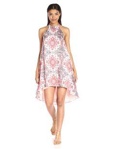 MINKPINK Women's How's The Serenity High Neck Halter Printed Swing Dress