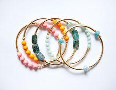 3 gemstone bangle bracelets $48 from pardes on Etsy