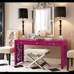 This entry is perfectly decorated. Pops of color are  added in the right places without overdoing it. Statement chairs and a mirrored bench provide seating. Black lamps compliment the cream, fuschia and over all feel of this space.... - Interior Design Ideas, Interior Decor and Designs, Home Design Inspiration, Room Design Ideas, Interior Decorating, Furniture And Accessories