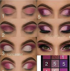15 Sexy Eye Makeup Tutorial For Beginners To Look Great - Eye Makeup eye makeup pictorial Sexy Eye Makeup, Makeup Eye Looks, Purple Eye Makeup, Eye Makeup Steps, Smokey Eye Makeup, Makeup Pictorial, Eyeshadow Makeup Tutorial, Pinterest Makeup, Makeup Tutorial For Beginners