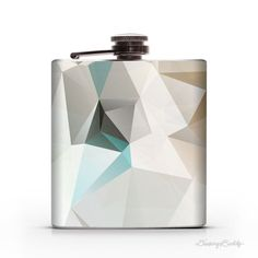 Turquoise Gold Geometric  6oz Whiskey Hip Flask von DrinkingBuddy, $19.95