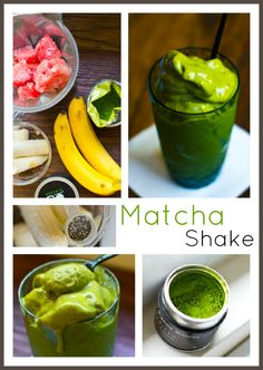 Matcha Shake: 3/4 cup milk or non-dairy sub + 1 cup watermelon cubes, frozen + 1 banana, frozen + 1-2 tsp matcha green tea powder + 1 tsp chia seeds.  Blend the matcha, chia, and milk on low. Turn off blender and add the watermelon and banana, blend. Enjoy with a spoon!