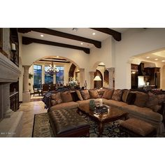 Great Mediterranean Living Room ❤ liked on Polyvore featuring house, home, room, pictures and casa