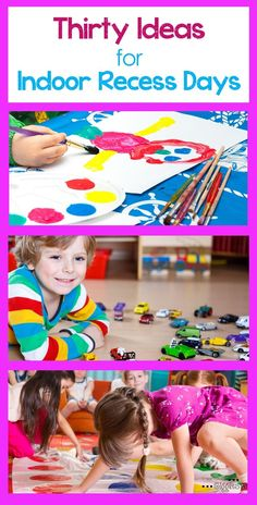 Whatever the reason, some days you need a good indoor activity to keep the kids happily entertained. These 30 kids activities are perfect inspiration things to do on indoor recess days. Games For Kids Classroom, Rainy Day Activities For Kids, Rainy Day Fun, Classroom Activities, Rainy Days, Classroom Ideas, Motor Activities, Classroom Organization, Outdoor Activities
