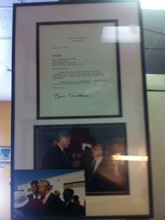 Mama Toscano's letter from then President Clinton. You can't get a better endorsement than from the President of the USA himself. Visit Mama's to see the framed letter hanging on the wall.
