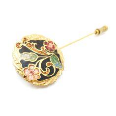 Vintage palo cloisonné Pin, flor, dorado, alfiler de sombrero, embrague