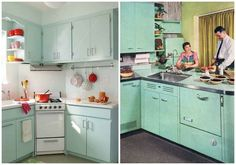 15 Essential Design Elements For a Perfectly Retro Kitchen. Find out how Pastel Cabinets can transform your kitchen #BigChill