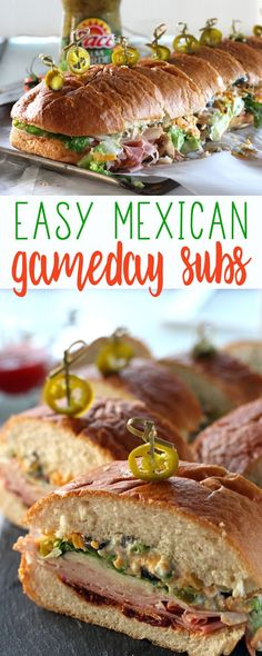 Turn the flavor all the way up with Mexican-inspired Gameday Sub Sandwiches. Layers of meats, cheeses and veggies with bold pops of peppers and salsa verde. #ad #MakeGameTimeSaucy with Pace Salsa and @Walmart.