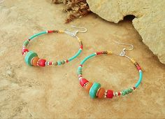 Turquoise Earrings, Southwest Hoop Earrings, Rustic Tribal, Colorful Bohemian Beaded Earrings, Handmade Bohemian Jewelry by Kaye Kraus