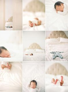 Lifestyle-type Newborn Photos -- love the idea of using mom and dads bed. :)