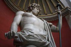 The colossal statue of Antinous, favourite of Roman Emperor Hadrian, who drowned in the Nile in 130 CE and was officially made a god by the emperor. Excavated from the site of Hadrians villa. (The Vatican Museums, Rome).
