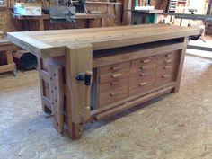 Build Your Own Garage Workbench - Woodworking Finest Wood Bench Plans, Tool Bench, Woodworking Bench Plans, Diy Bench, Woodworking Workshop, Woodworking Furniture, Woodworking Projects, Wood Shop Projects, Vintage Industrial Furniture