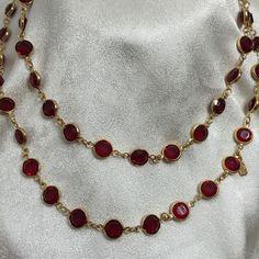 "Swarovski Crystal Ruby Red Open Back Bezel Set Goldtone Swan Tag 36"" Necklace #Swarovski #StrandString"