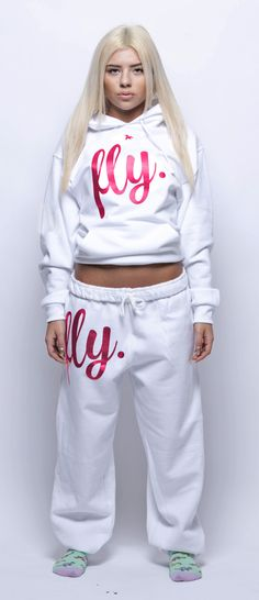 FLY. ALL White Sweatsuit w/ Pink Print (UNISEX FIT)