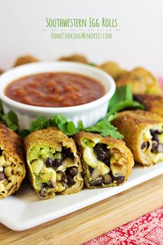 Southwestern Egg Rolls Recipe -- delicious avocado, black beans, corn, and cheese all rolled up for a quick appetizer or dinner #15MinuteSuppers