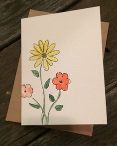 Watercolor customized cards birthday cards just because Cute Cards, Diy Cards, Mothers Day Drawings, Art Carte, Card Drawing, Paint Cards, Guache, Flower Cards, Flower Birthday Cards