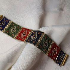 miyuki blue bracelet by gunselstyle on Etsy Seed Bead Patterns, Beaded Bracelet Patterns, Woven Bracelets, Seed Bead Bracelets, Seed Bead Jewelry, Bead Jewellery, Handmade Bracelets, Beading Patterns, Handmade Jewelry