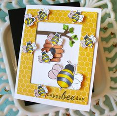 Card by Kathy Martin. Reverse Confetti stamp set: The Buzz. Confetti Cuts: The Buzz and The Tweet Life. Birthday card. Bumblebees. Yellow and black combination.