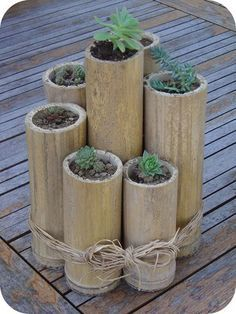 Bring some nature into your life with this zen decorating idea: 7 bamboo stalks cut at varying heights and held together with raffia strands. Plant a cactus or 2 inside and watch them grow.