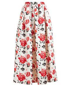 MSGM   Floral Printed Silk-Wool Princess Skirt