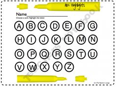 ABC Highlights- Kids pull a card and highlight the letter. Cute center! :)