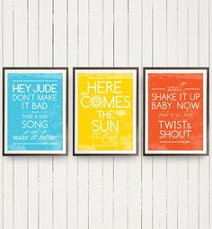 Beatles Group Trio Posters Music Hey Jude Here by PeanutoakPrint, $50.00