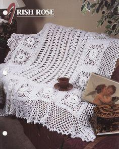 Irish Lace Afghan or Bedspread floral crochet pattern   eBay