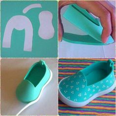 How to make doll shoes.  This page is in Russian and I cannot find the download link for the shoe pattern but the shoe is there with other items she has made.  The idea is simple enough though.