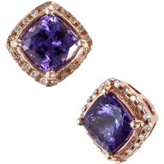 Effy Collection 14kt. Rose Gold Tanzanite & Diamond Earrings ($1,825) ❤ liked on Polyvore