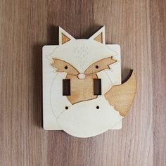 This handmade wood Fox light switch plate (double) is laser cut and the design is laser etched. A finishing oil is put over the wood to protect it.
