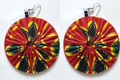 boucles doreilles ronde en tissu wax ankara africain, diamètre: 6 cm couleurs, rouge, jaune, noir
